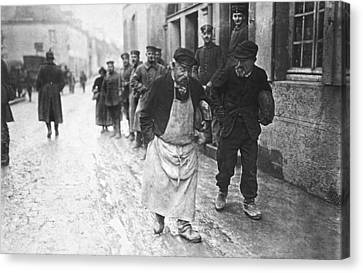 Senior Walk Canvas Print - Occupied France In Wwi by Underwood Archives