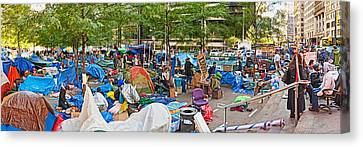 Occupy Wall Street At Zuccotti Park Canvas Print by Panoramic Images