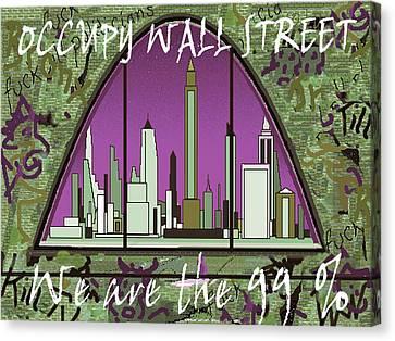 Occupy Wall Street 99 Percent - New York Graffiti Canvas Print by Art America Gallery Peter Potter