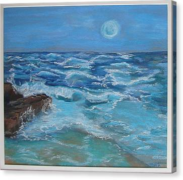 Canvas Print featuring the drawing Ocean 1 by Joseph Hawkins