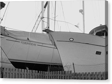 Ocean Adventure Until Then The Two Are In Dry Dock Monochrome  Canvas Print by Rosemarie E Seppala