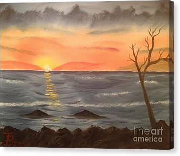 Ocean At Sunset Canvas Print by Tim Blankenship