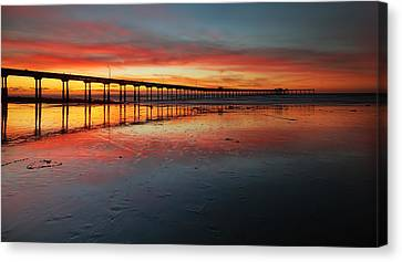 Ocean Beach California Pier 3 Panorama Canvas Print by Larry Marshall