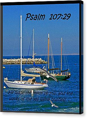 Ocean Birds -  Calm Sea - Psalm 107-29 Canvas Print