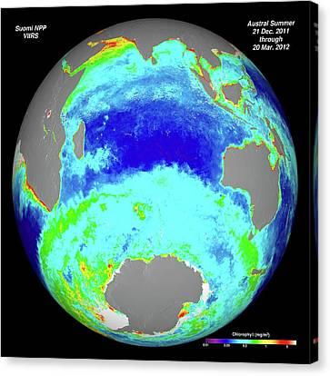 Ocean Chlorophyll Concentrations Canvas Print by Nasa/suomi Npp/norman Kuring