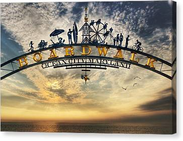 Ocean City Boardwalk Canvas Print by Lori Deiter