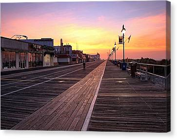 Ocean City Boardwalk Sunrise Canvas Print by John Loreaux