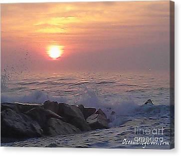 Ocean City Inlet Jetty At Sunrise Canvas Print by Robert Banach