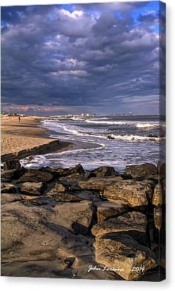 Ocean City Jetty Canvas Print by John Loreaux