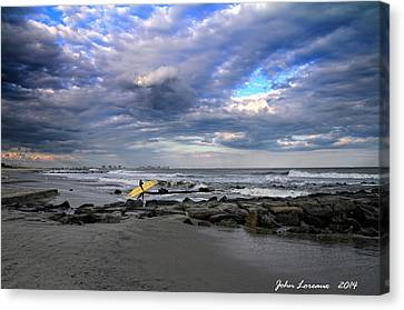 Ocean City Surfing Canvas Print by John Loreaux