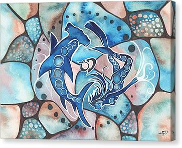 Canvas Print featuring the painting Ocean Defender by Tamara Phillips
