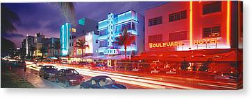 Ocean Drive, Miami Beach, Miami Canvas Print by Panoramic Images