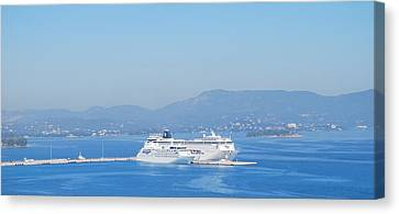 Ocean Liners In Corfu Canvas Print by George Katechis