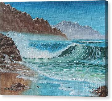Canvas Print featuring the painting Ocean Mist by Val Miller