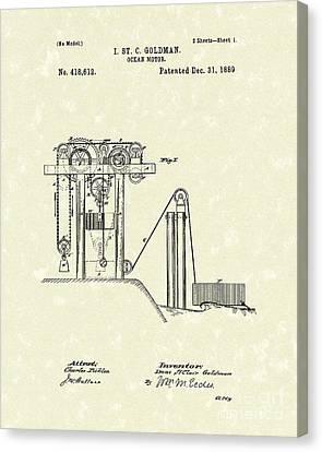 Ocean Motor 1889 Patent Art Canvas Print by Prior Art Design