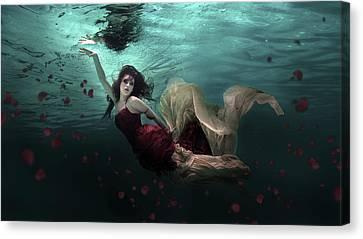 Swim Canvas Print - Ocean Of Roses by Martha Suherman