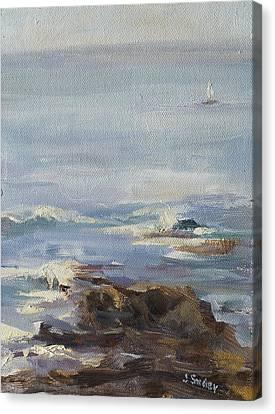 Ocean Rocks With Sailboat Canvas Print