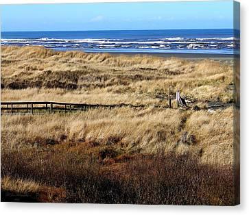 Ocean Shores Boardwalk Canvas Print by Jeanette C Landstrom