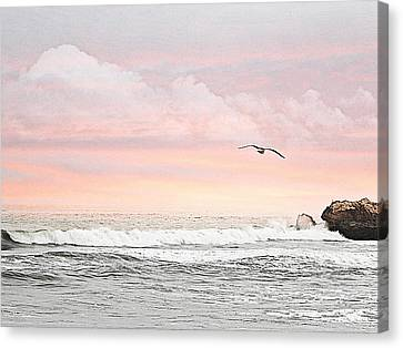 Canvas Print featuring the photograph Ocean Sunset by Kathy Churchman