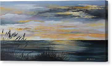 Ocean Sunset Canvas Print by Ken Ahlering