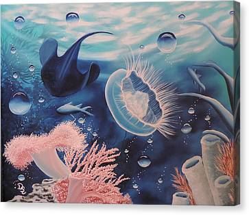 Canvas Print featuring the painting Ocean Treasures by Dianna Lewis