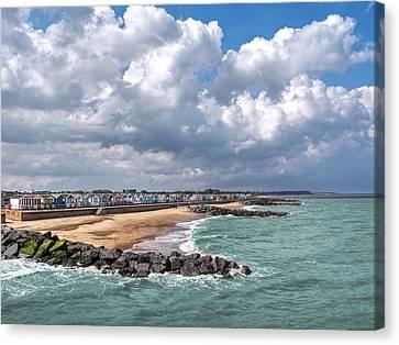 Ocean View - Colorful Beach Huts Canvas Print by Gill Billington