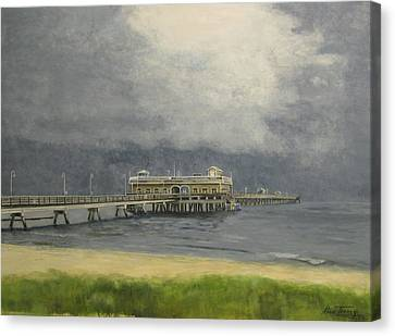 Canvas Print featuring the painting Ocean View Pier by Stan Tenney