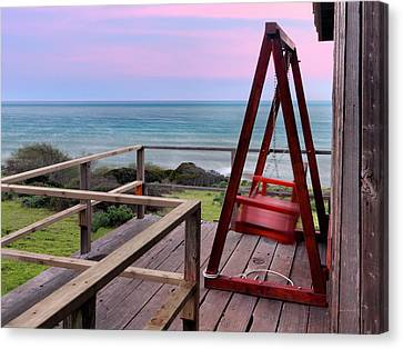 Old Cabins Canvas Print - Ocean View Seat by Leland D Howard