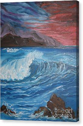 Canvas Print featuring the painting Ocean Wave by Jenny Lee