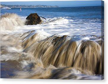 Ocean Waves Breaking Over The Rocks Photography Canvas Print