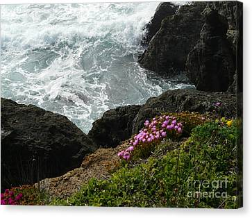 Ocean Wildflowers-2 Canvas Print by Avis  Noelle