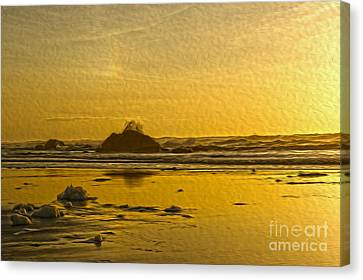 Ocean Yellow Canvas Print by Nur Roy