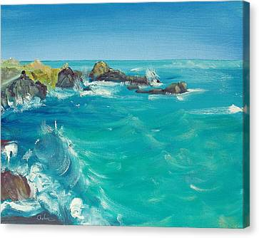 Canvas Print featuring the painting Oceano    by Asha Carolyn Young