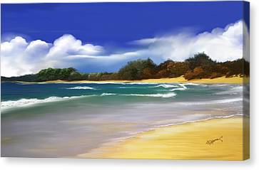 Canvas Print featuring the digital art Oceanside Dream by Anthony Fishburne