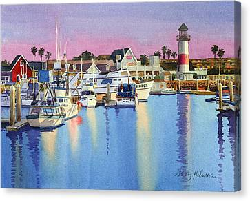 Oceanside Harbor At Dusk Canvas Print by Mary Helmreich