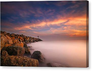 Oceanside Harbor Jetty Sunset 4 Canvas Print by Larry Marshall