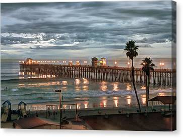 Oceanside Pier At Dusk Canvas Print by Ann Patterson
