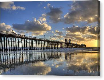Oceanside Pier Sunset Reflection Canvas Print by Peter Tellone