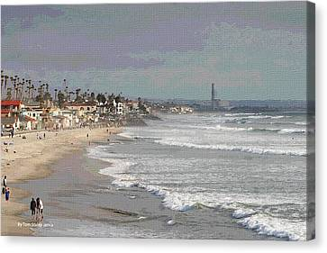 Canvas Print featuring the photograph Oceanside South Of Pier by Tom Janca