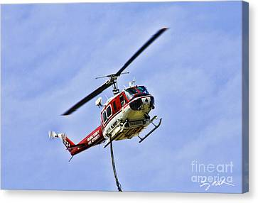Canvas Huey Helicopter Drops Water on Forest Fire Art print POSTER