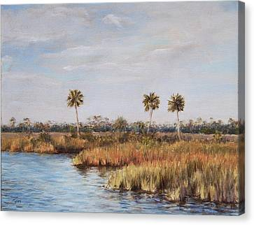 Canvas Print featuring the painting Ochlockonee River Palms by Pam Talley