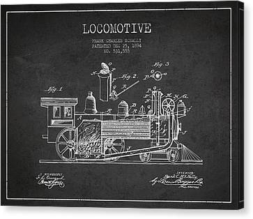 Locomotive Patent Drawing From 1894 Canvas Print