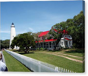 Ocracoke Lighthouse Fence Canvas Print