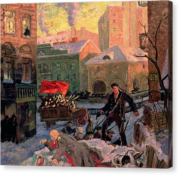 Communism Canvas Print - October 1917 In Petrograd by Boris Mihajlovic Kustodiev