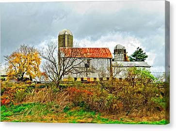 October Barn Paint Canvas Print