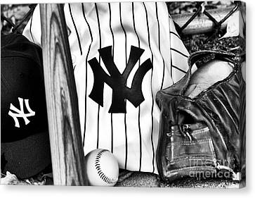 Baseball Glove Canvas Print - October Dreams by John Rizzuto