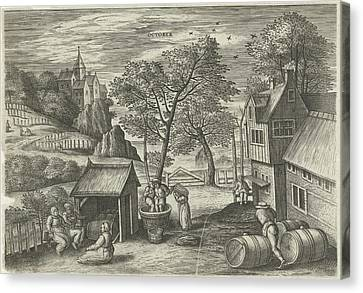 Wine Scene Canvas Print - October, Julius Goltzius, Gillis Mostaert by Julius Goltzius And Gillis Mostaert (i) And Hans Van Luyck
