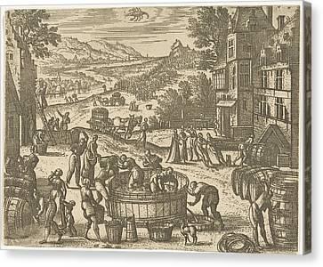 Wine Scene Canvas Print - October, Pieter Van Der Borcht by Pieter Van Der Borcht (i)