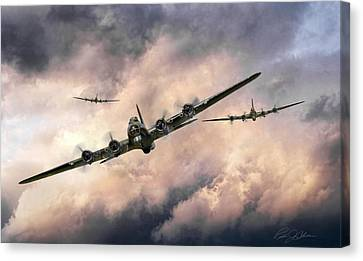 B17 Canvas Print - October Sky 1944 by Peter Chilelli