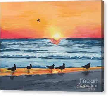 October Sunset On Siesta Key Florida Canvas Print by J Linder